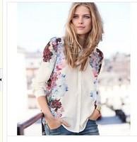 European Style Fashion Long-sleeved Peter Pan Collar Printed Women Chiffon Blouses Autumn Women Base Shirts