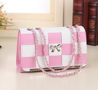 2014 new fashion handbags shoulder diagonal checkered handbag Korean version of the thin cross pattern stereotypes bags