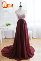 2014 Real Sweetheart Neckline Beading Crystals Brown Color  Floor Length Long Sexy Evening Dress