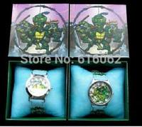 Free Shipping 25pcs New style Cartoon Teenage mutant ninja turtles Wristwatch Kids Watches Children Watch With Gift Box