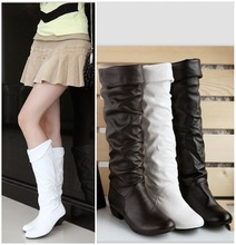 free shipping 2015 Snow single female boots spring and autumn winter women flat heel high-leg boots shoes white black brown(China (Mainland))