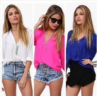 Temperament Casual Shirt Women Spring Summer 2014 Long Sleeve Chiffon V-neck Blouse Tops Blusas Femininas S2025