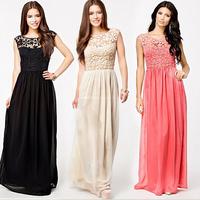 2014 Hot Sell Women Summer Sleeveless White Top Crochet Sexy Lace Chiffon Maxi Dress Vestidos free shipping