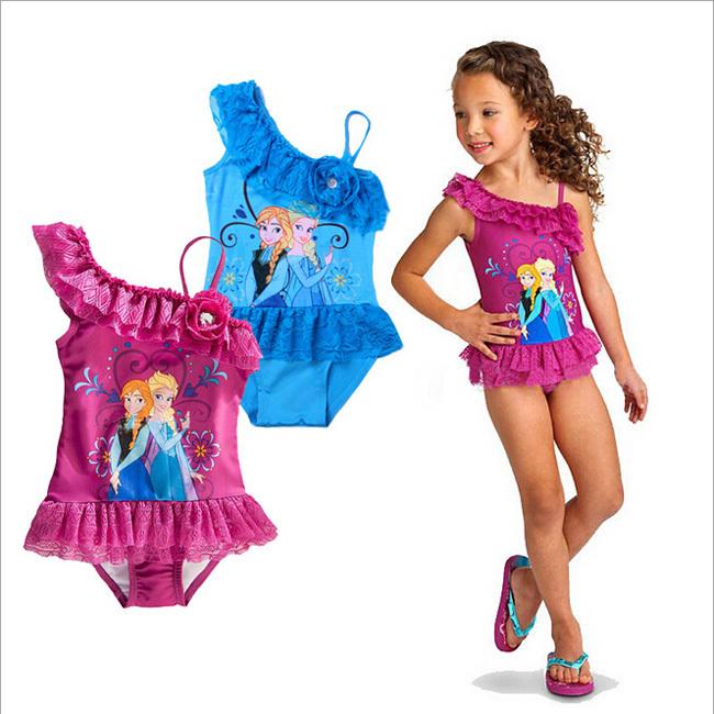 Imagenes Vestidos De Baño Kelinda:Retail Baby girls Swimwear one piece Toddler frozen Swimsuit 2-6 Years