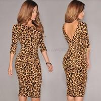 New Women's Sexy Dress Polyester O-Neck Backless Mid-Sleeve Shirt Party Dress Top mini Leopard Dress free size SV19 CB032547