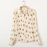 body Owl shirt female long-sleeve 2014 spring turn-down collar animal graphic patterns women's print chiffon shirt  -L035