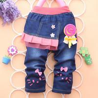 4PC/LOT autumn girl jeans skirt flower baby pants denim kids clothing children trousers PANYA PYF11