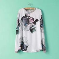 New Women ZA Brand Vintage Floral Print OL Blouse Lady Ink Painting Pattern Long Sleeve Chiffon Shirt Zipper Tops  -L034