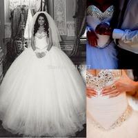 2015 Hot Sale Sweetheart Crystals Long Ball Gown Wedding Dresses Brides Dress Gowns Vestido De Noiva On Line