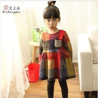 Child equipment fall/winter 2014 girls dress girls cotton Princess dresses, plaid cotton bottom skirt