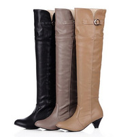 Women new fashion spring autumn over-the-knee high leg 5cm thick heel solid color buckle boots plus size 40-43