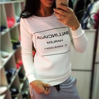 Hot sale new 2014 women Tracksuit black white letter printed hoodies Sweatshirt Plus size sportwear  pullovers women casual tops