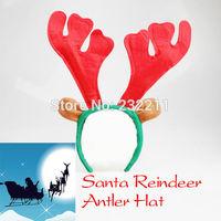 Santa Reindeer Antler Hat Deer Horn  Costume Headband Christmas Cap Free Shipping New Gift Xmas  P4PM