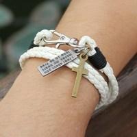 New Hot Sell Fashion White Multilayer Leather Bracelet! Neutral Charm Bracelet Bracelet! Mountaineering Buckle Cross Bracelet!