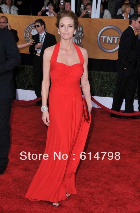 Elegant Diane Lane 15th Annual SAG Awards Sheath Ruched Halter Long Red Chiffon Celebrity Dress/Prom Dress(China (Mainland))