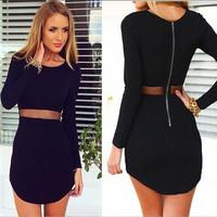 2014 brand new fashion women black bodycon dresses casual o-neck long sleeve dress sexy  slim vestidos plus size 20392