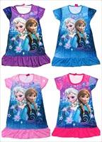 New 2104 children summer Frozen dress Girl Frozen Elsa's and Anna's dress Children clothes cartton
