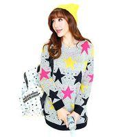 Free shipping 2014 autumn new Women Korean large yards thick loose sweater female pentagram hedging sweater