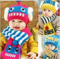 New 2014 Baby Cut Cartoon Winter Hat High Quality Soft Knitting Wool Cap Children Keep Warm Outdoor Hat With Ears Free Shipping