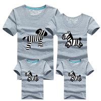 an parent-child loaded quality cotton short sleeved T-shirt Zebra Print parent-child loaded parent-child full decoration