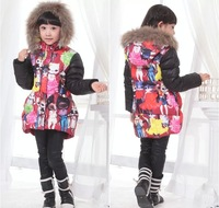 new children down coat, brand girls winter hooded padded jackets,designer kids feather outerwear girl parkas