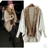 New European Fashion Fur Collar Lady Boutique Cardigans Batwing Sleeve Girl Cool Knitwear Free Size YS93911