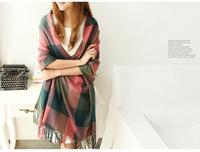 The new autumn/winter long lattice thickening shawl Imitation cashmere shawl fashion scarf women free shipping