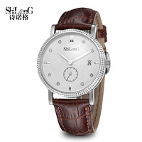 SHILONG WATCH Quartz with Sapphire Mirror Original Japan Movt Date and Day Design Analog Round Dial and Stainless SteelWatch