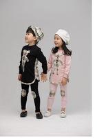 Free shipping 2014 Children's Sets Boys&Girls plaid BEAR Long Sleeves top and Pants 2pcs Girls Suit Kids Spring Autumn Set