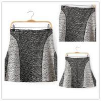 Free shipping 2014 new arrival girls high waist black white patchwork flounce woolen skirt