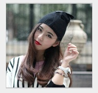 Free shipping New 2014 Winter Knit Beanies Veil gauze women's knitted Hat Thermal Mesh Female Fashion party cap