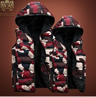 Lovers Casual Waistcoat female/male autumn winter fashion camouflage vest men &women's slim Warm Hooded big size down vest
