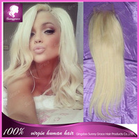 Free Shipping 4*4 blond color lace closure #613 virgin hair lace closure with baby hair 100% brazilian hair
