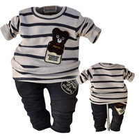 2014 Spring and Autumn Children clothing Sets baby boys bear Cartoon suit 0-3 years free shipping