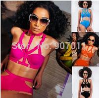2015 explosion models bandage bikini swimsuit sexy ladies split hollow Retro Women High Waist swimwear free shipping DST-0999