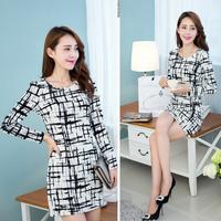 2014 new model Korean large size women long-sleeved dress women Slim temperament bottoming dress package female plaid clothes