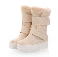 New 2014 Brand Hot-Sale Velcro Platform Knee-High Winter Boots For Women Flats Snow Boats Plush Big Plus Size 35-43