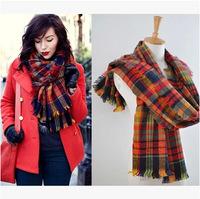 Z* women winter scarfs 2014 Desigual Plaid Scarf New Designer Cashmere Basic Shawls Women's Scarves Big Size 190 *90 CM