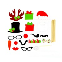 1set DIY 17PCS On A Stick Photo Booth Prop Mustache For Wedding Birthday Party