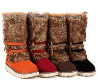 Women's Round Toe High Platform Fur  Boots