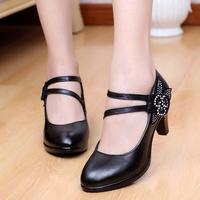 2015 genuine leather  Flower decoration fashion thick heel comfortable women work shoes  rhinestone platform chunky heels pumps