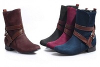 2014 New Women Flat Ankle Snow Motorcycle Boots Female Suede Leather Buckle Martin Boot 4Colors Plus Big Size 33-47