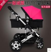 Baby stroller double shock absorbers baby two-way light folding trolley four wheel stroller