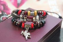 Men Women Braid Leather Cord Bead Cupid Bracelet Wristband Hemp Surfer for lover Christmas gift