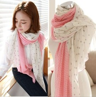 2014 Factory selling gradient size dot voile scarf joker long scarf wholesale scarves shawls