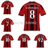 Free Fast ShippingTop14/15 AC MILAN JERSEY EL SHAARAWY TORRES 2015 AC Milan Soccer Jerseys Football Jerseys Best QualityThailand