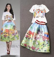 Top Qaulity New Fashion 2015 Spring Summer Skirt  Suit  Women Beautiful Print T-Shirt White Tee+Digital Print A-Line Skirt(1Set)