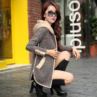 winter dressShort jacket 2014 women's spring and autumn slim medium-long knitted long-sleeve coat