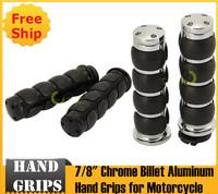 "7/8"" Black and Sliver Chrome Billet Aluminum Hand Grips for Motorcycle"