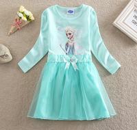 Frozen Elsa Party Dress For Christmas Long Sleeve Frozen Tutu Dress Froze Princess Dress Light Green Costume 5pcs/lot